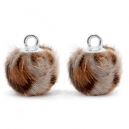 Bedels pompom met oog faux fur leopard 12mm Taupe brown-silver