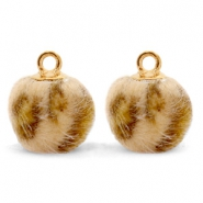 Bedels pompom met oog faux fur leopard 12mm Camel brown-gold
