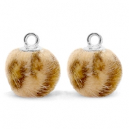 Bedels pompom met oog faux fur leopard 12mm Camel brown-silver