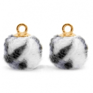 Bedels pompom met oog faux fur leopard 12mm Off white-gold