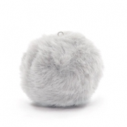 Bedels pompom met oog faux fur 3.5cm Light grey
