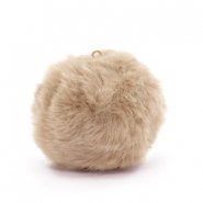 Bedels pompom met oog faux fur 3.5cm Naturel brown