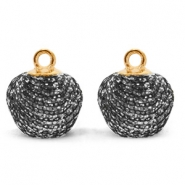 Bedels pompom glitter met oog 12mm Anthracite-gold