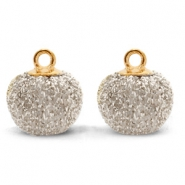 Bedels pompom glitter met oog 12mm Light gold-gold