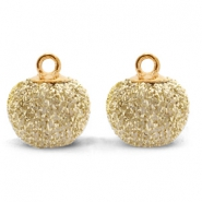 Bedels pompom glitter met oog 12mm Gold