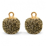 Bedels pompom glitter met oog 12mm Gold anthracite-gold