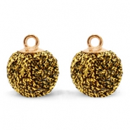 Bedels pompom glitter met oog 12mm Gold brown-gold