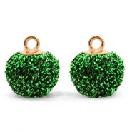 Bedels pompom glitter met oog 12mm Green-gold