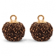 Bedels pompom glitter met oog 12mm Bronze-gold