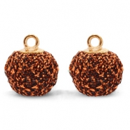 Bedels pompom glitter met oog 12mm Copper-gold