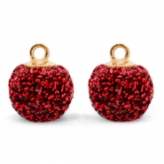 Bedels pompom glitter met oog 12mm Dark red-gold