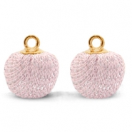 Bedels pompom glitter met oog 12mm Light pink-gold