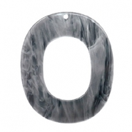 Hangers van resin ovaal 48x40mm Grey
