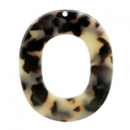 Hangers van resin ovaal 48x40mm Creme-black