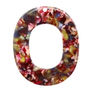 Hangers van resin ovaal 48x40mm Mixed red-yellow