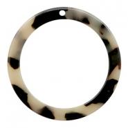 Hangers van resin rond 35mm Creme-black