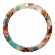 Hangers van resin rond 35mm Mixed pink-blue