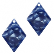 Hangers van resin ruit 20x14mm Dark blue