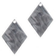 Hangers van resin ruit 20x14mm Grey