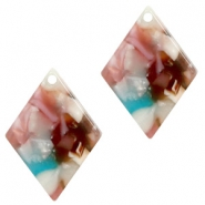 Hangers van resin ruit 20x14mm Mixed pink-blue
