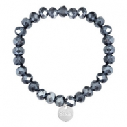 Facet armbanden Sisa top quality 8x6mm (RVS bedel) Dark blue-pearl shine coating
