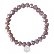 Facet armbanden Sisa top quality 8x6mm (RVS bedel) Dark grape purple-pearl shine coating