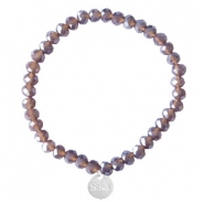 Facet armbanden Sisa top quality 6x4mm (RVS bedel) Dark grape purple-pearl shine coating