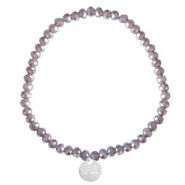 Facet armbanden Sisa top quality 4x3mm (RVS bedel) Dark grape purple-pearl shine coating