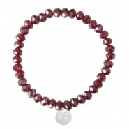 Facet armbanden Sisa top quality 6x4mm (RVS bedel) Burgundy red-pearl shine coating