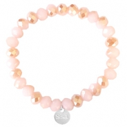 Facet armbanden Sisa top quality 8x6mm (RVS bedel) Ginger pink-pearl shine coating