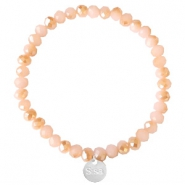 Facet armbanden Sisa top quality 6x4mm (RVS bedel) Ginger pink-pearl shine coating