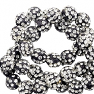 Strass kralen 10 mm Black-silver