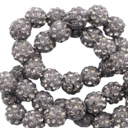 Strass kralen 8 mm Anthracite