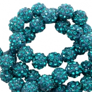 Strass kralen 10 mm Teal blue
