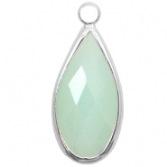 Hanger van crystal glas druppel 10x20mm Light turquoise green opal-silver