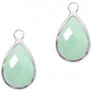 Hanger van crystal glas druppel 10x14mm Light turquoise green opal-silver