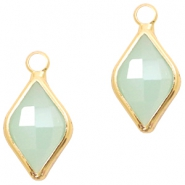 Hanger van crystal glas rhombus 10x14mm Light turquoise green opal-gold