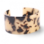 Hippe armbanden resin Creme-black