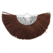 Kwastje hanger Silver-chocolate brown