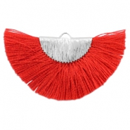 Kwastje hanger Silver-ruby red