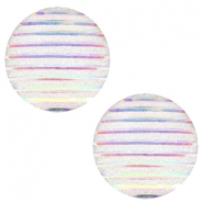 Cabochons basic 20mm stripe Silver crystal holographic