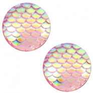 Cabochons basic 20mm mermaid Vintage pink holographic