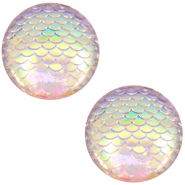 Cabochons basic 12mm mermaid Silver crystal holographic