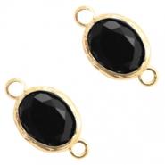Crystal glas tussenstukken 8x10mm Jet black-gold