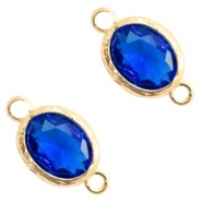 Crystal glas tussenstukken 8x10mm Cobalt blue crystal-gold