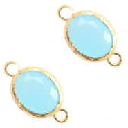 Crystal glas tussenstukken 8x10mm Blue opal-gold