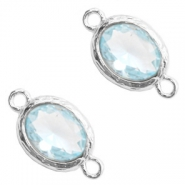 Crystal glas tussenstukken 8x10mm Light blue crystal-silver
