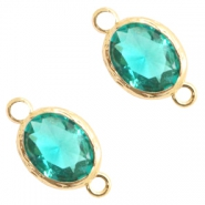 Crystal glas tussenstukken 8x10mm Emerald blue zircon crystal-gold