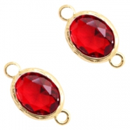 Crystal glas tussenstukken 8x10mm Siam red crystal-gold