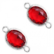 Crystal glas tussenstukken 8x10mm Siam red crystal-silver